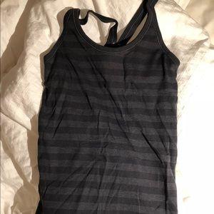 Lulu black striped workout top